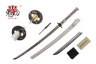 """41"""" 1045 Carbon Steel Blade Katana Sword with One Throwing Dagger and White Scabbard"""
