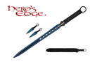 1 PC Full Tang Blue Blade Straight Ninja Sword with Two Throwing Knives