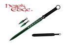 1 PC Full Tang Green Blade Straight Ninja Sword with Two Throwing Knives