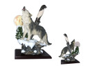 "13"" Polyresin Howling Wolf On a Cliff Under a Moon w/ Dagger"