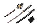 "32"" Full Tang Wakazashi with Musashi Tsuba and Black Scabbard"