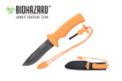 "10"" Black Blade and Orange Handle w/ Hidden Fire Starter"