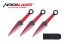 "Kunai 6.5"" 3pc Set Red / Black Blade Thrower w/ Sheath"