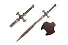 "45.5"" Fantasy Skull Cross Sword w/ Wooden Plaque"