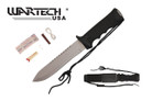 "13.5"" Black Survival Knife w/ Survival Kit and Hard Sheath"