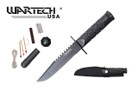 "8"" Black Survival Hunting Knife w/ Survial Kit"