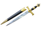 "22"" King Solomon Dagger Black / Gold Handle with Scabbard"