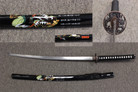 Black Samurai With Wrapped Handle Black Sheath With Character Design