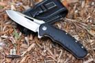 "PROELIA KNIVES TX020 TACTICAL FOLDER 4"" SATIN D2 DROP POINT BLADE, BLACK G10 HANDLE"
