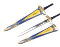 "25"" Fantasy Sword w/ Gold Hand Guard, Blue Handle, Medieval"
