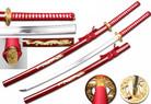 "40"" Full Tang Handmade 1045 Carbon Steel Samurai Sword w/ Gold Tsuba & Red Dragon Scabbard"