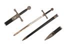 """33 3/8"""" Excalibur Sword w/ Scabbard - Silver"""