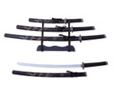 "3 PCS SET 40"" Black Dragon Katana Samurai Sword w/ Stainless Steel Blade"