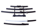 "3 PCS SET 40"" Black Katana Samurai Sword w/ Stainless Steel Blade"
