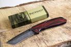 Buckshot Knives PBK220DS Thumb Open Spring Assisted Tanto Cleaver Classic Wood Handle Pocket Knives