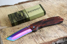 Buckshot Knives PBK220RB Thumb Open Spring Assisted Tanto Cleaver Classic Wood Handle Pocket Knives