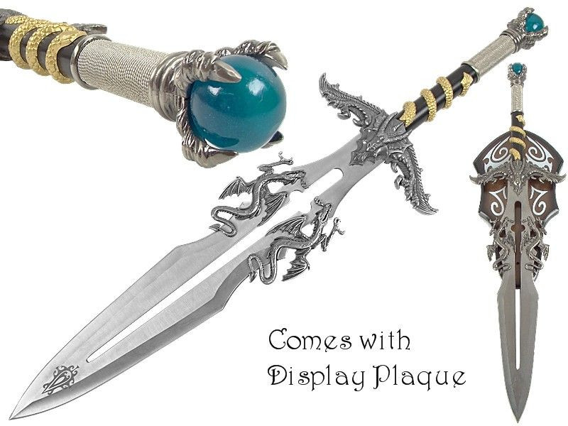 "25.5"" Overall Fantasy Dragon Sword W/ Wall Plaque"