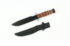 "12"" Serrated Edge Hunting Tactical Knife Leather Handle with Sheath"