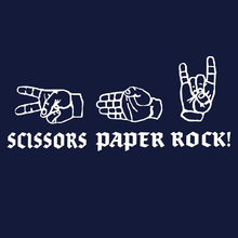 Scissors Paper Rock!  Metal music T shirt  Horns Up!