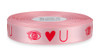 "Hard Pink ink ""Eye Heart U"" on Cherry Blossom Ribbon - Double Faced Satin Sayings"