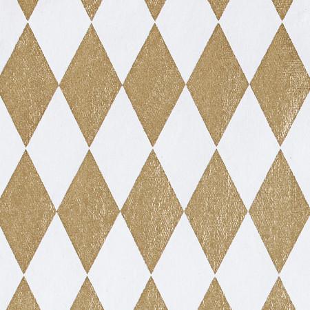 Gift Wrap - Harlequin - Gold on White