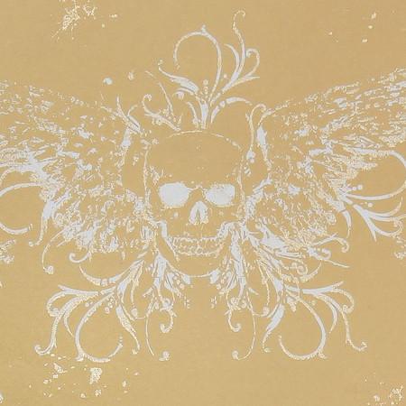 Gift Wrap - Skull Wings - Tan