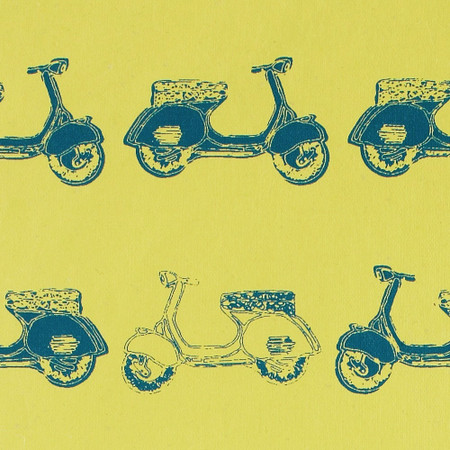 Gift Wrap - Scooters - Mustard