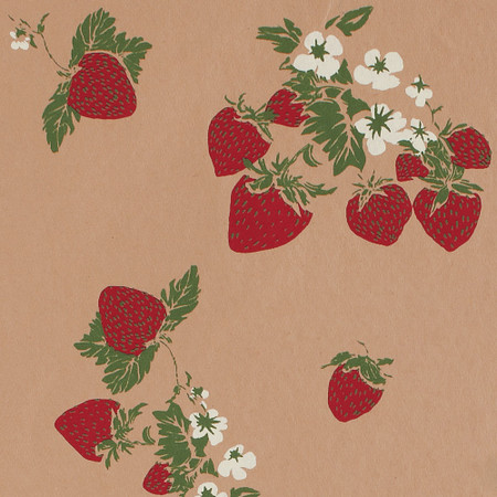 Gift Wrap - Strawberries - Tan