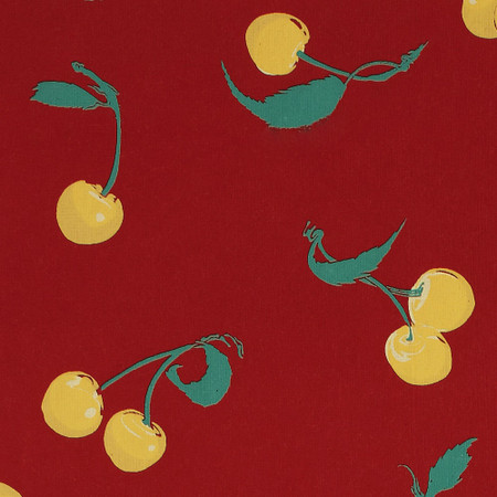 Gift Wrap - Cherries - Yellow on Red