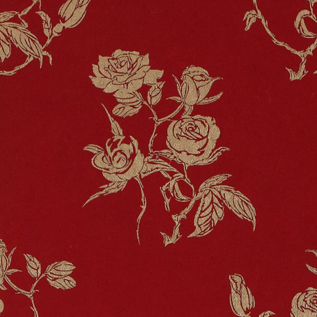 Gift Wrap - Roses - Gold on Red