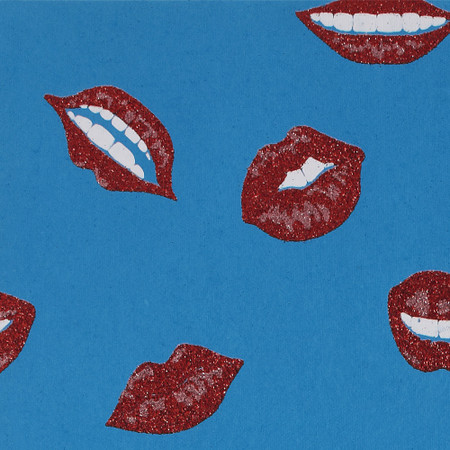 Gift Wrap - Lips - Red & Pink Glitter on Blue