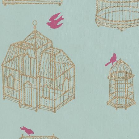 Gift Wrap - Birdcage - Pink Bird on Blue