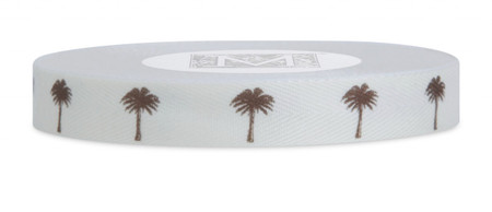 Symbols on Herringbone Ribbon - Brown ink Palm Tree on Bone