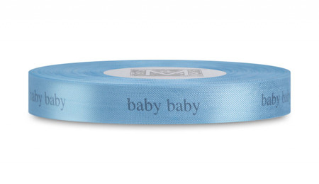 "Dark Grey ""Baby Baby"" on Caribbean Ribbon - Rayon Trimming Sayings"