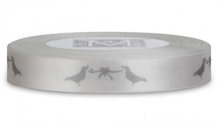 Silver ink Love Birds on Alabaster Ribbon - Double Faced Satin Symbols