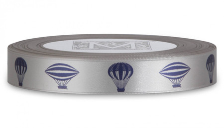 Double Faced Satin Symbols - Navy ink Ancient Airships on Oyster