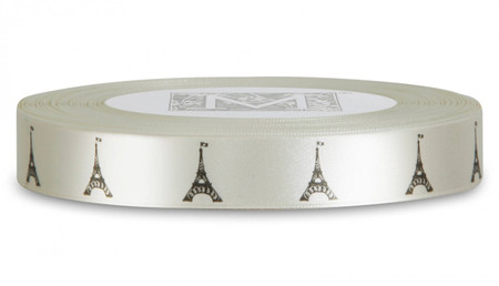 Double Faced Satin Symbols - Black ink Eiffel Tower on Bone