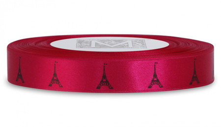 Double Faced Satin Symbols - Black ink Eiffel Tower on Bougainvillea