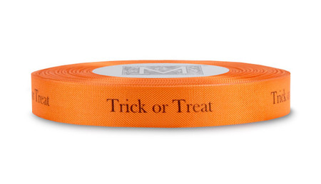 """Black """"Trick or Treat"""" on Persimmon Ribbon - Rayon Trimming Sayings"""