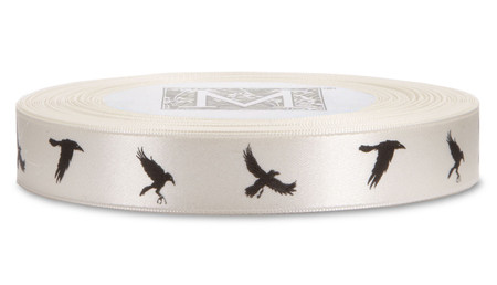 Black ink Crows on Bone Ribbon - Double Faced Satin Symbols