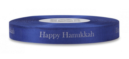 "Silver ""Happy Hanukkah"" on Marine Ribbon - Rayon Trimming Sayings"