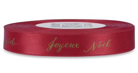 "Gold ""Joyeux Noel"" on Red Ribbon - Double Faced Satin Sayings"