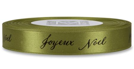 "Black ""Joyeux Noel"" on Fig Ribbon - Double Faced Satin Sayings"