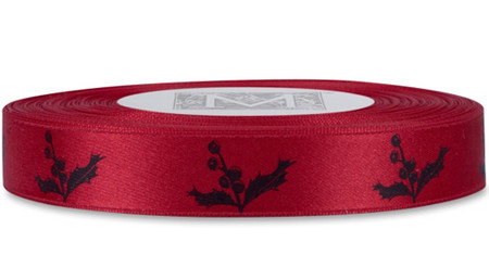 Black English Holly on Red Ribbon - Double Faced Satin Symbols