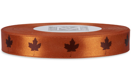 Brown Leaf on Mandarin Ribbon - Double Faced Satin Symbols
