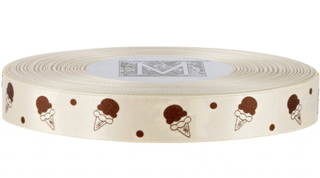 Brown Ice Cream on French Vanilla Ribbon - Double Faced Satin Symbols