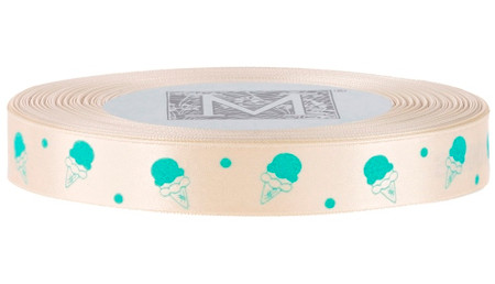 Turquoise Ice Cream on French Vanilla Ribbon - Double Faced Satin Symbols
