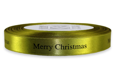 """Black """"Merry Christmas """" on Fig Ribbon - Double Faced Satin Sayings"""