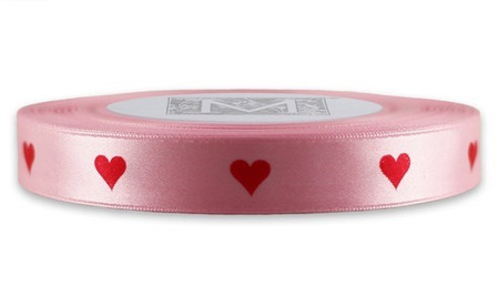Red ink heart on Blush Ribbon - Double Faced Satin Symbols