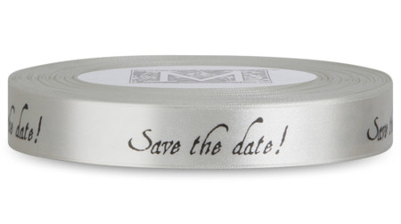 "Double Faced Satin Sayings - Black ink ""Save The Date"" on Bone"